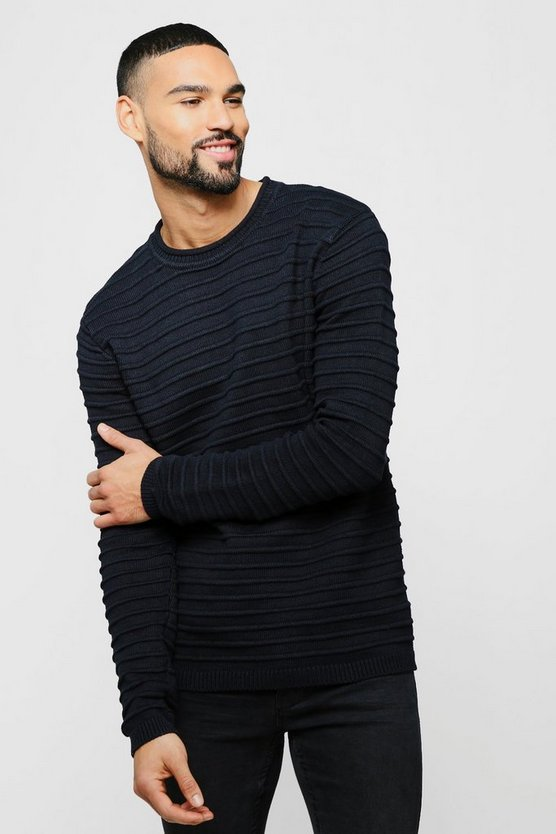 Black Roll Neck Sweater With Rib Detail