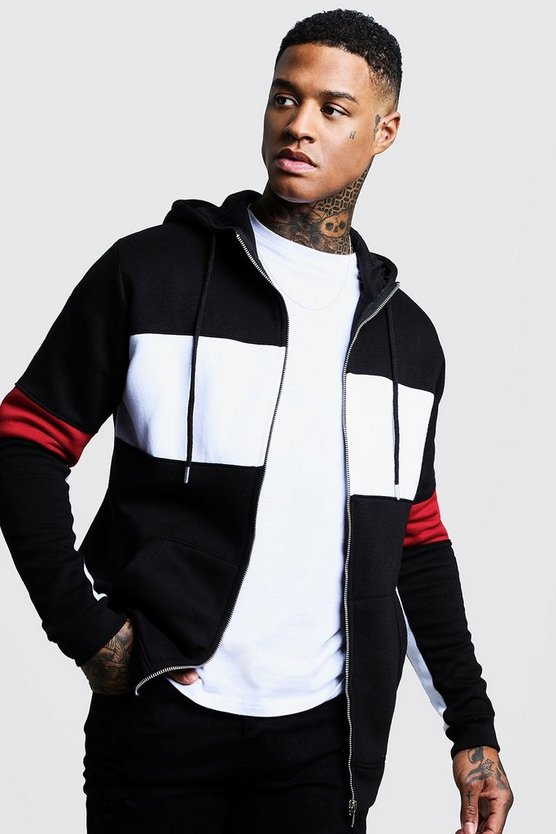 Black Chest Panel Colour Block Zip Through Hoodie