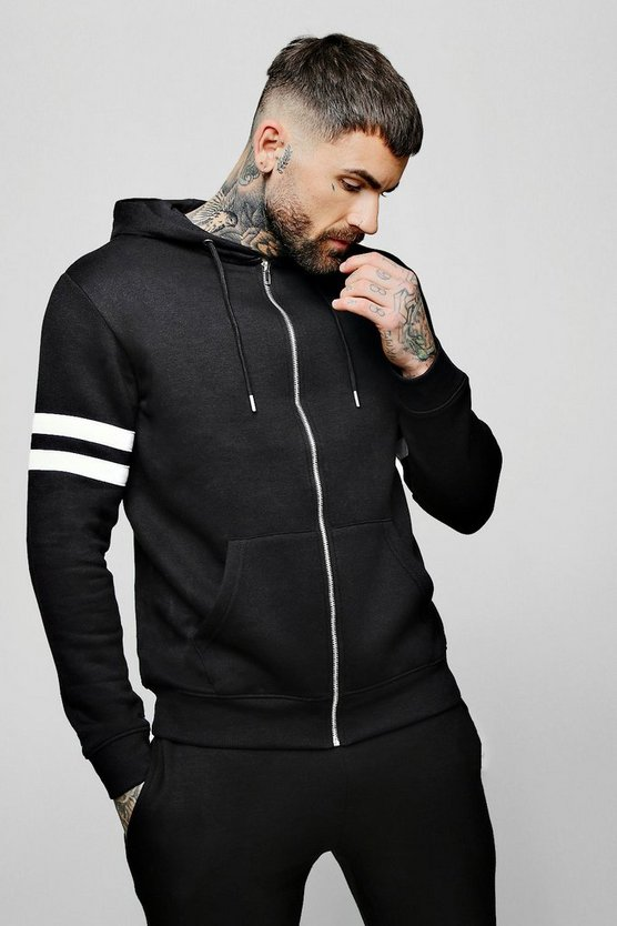 Black Contrast Panel Zip Through Hoodie