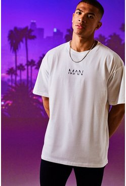 Mens White Oversized Original MAN Print T-Shirt