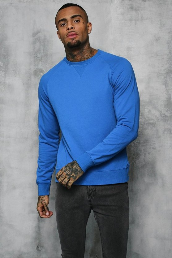 Blue Basic Lightweight Crew Neck Sweater