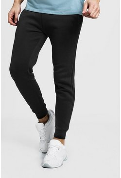 Mens Black Basic Skinny Fit Joggers