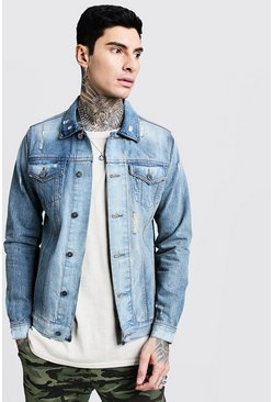 Mens Vintage blue Denim Western Jacket