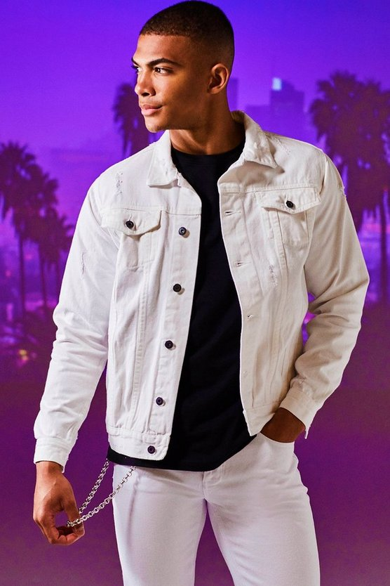 Mens White Denim Western Jacket