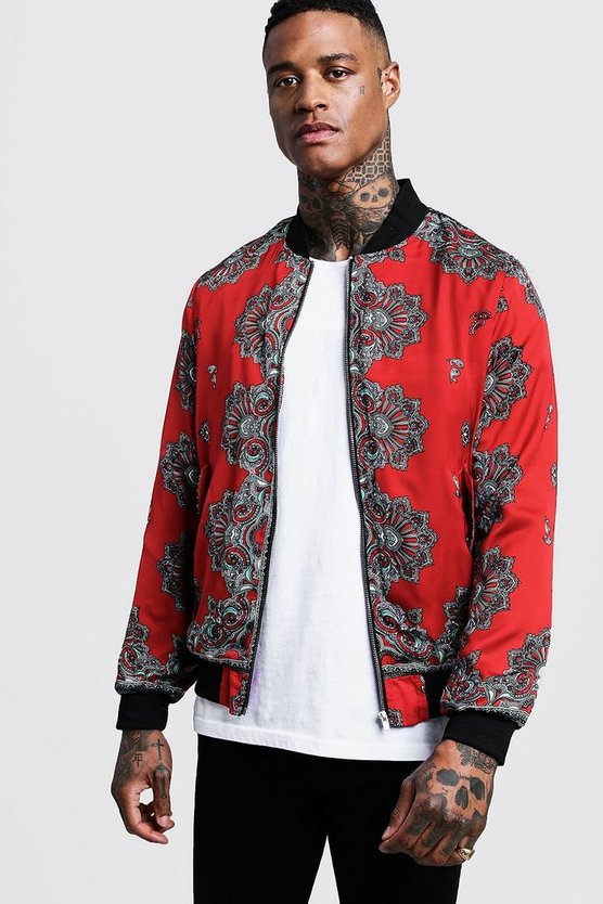 Red Paisley Sateen Bomber Jacket