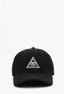 Black Faux Suede Embroidered Cap