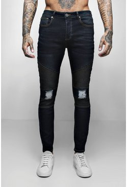 Mens Indigo Wash Biker Detail Skinny Fit Jeans