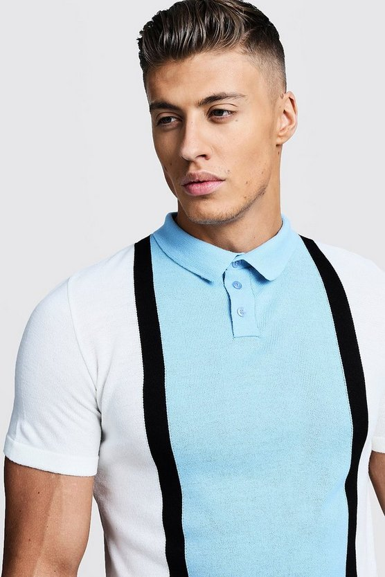 Powder blue Short Sleeve Colour Block Knitted Polo
