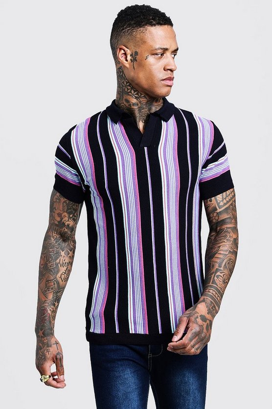 Navy Short Sleeve Striped Knitted Polo
