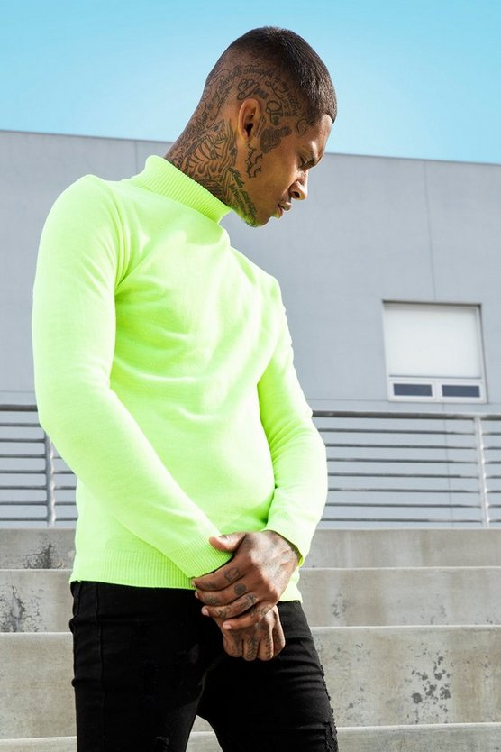 Mens Neon-yellow Roll Neck Neon Knitted Jumper