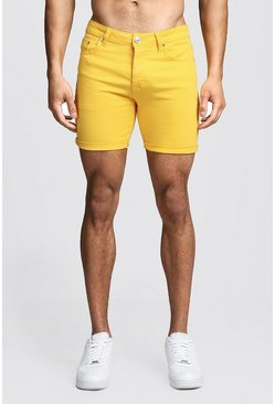 Mens Skinny Fit Yellow Denim Shorts