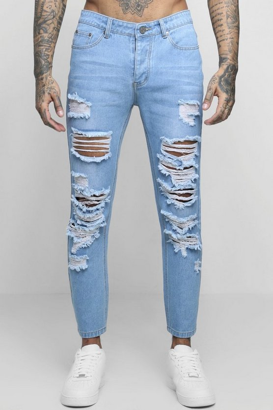Mens Blue Skinny Fit Jeans With Extreme Distressing