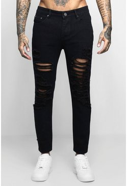 Mens Black Skinny Fit Jeans With Extreme Distressing