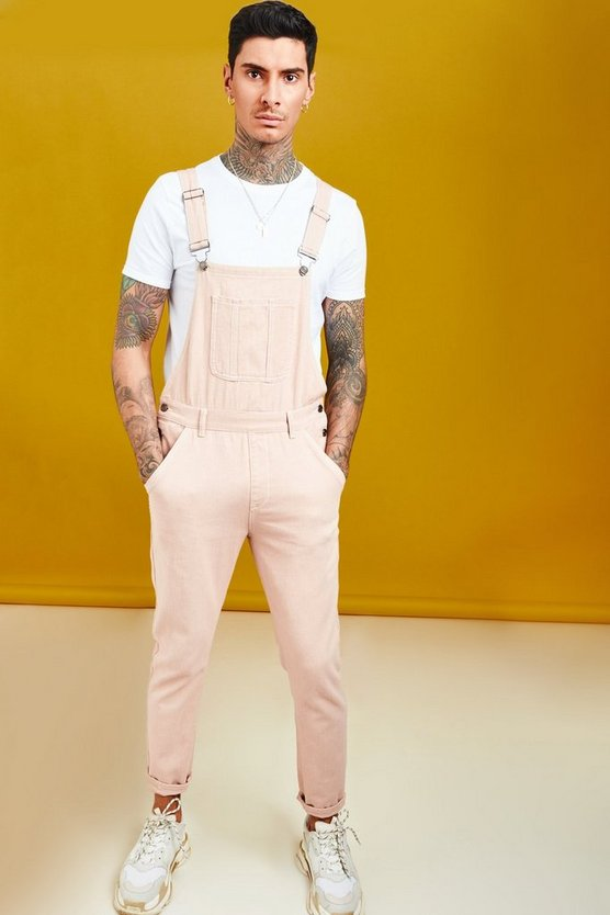 Dusky pink Skinny Fit Denim Dungaree With Contrast Stitch