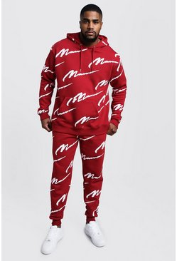 Mens Red Big & Tall All Over MAN Hooded Tracksuit