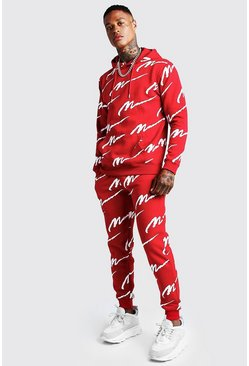 Red All Over MAN Print Hooded Tracksuit