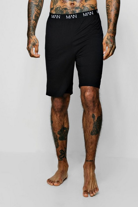 Black MAN Dash Waistband Jersey Lounge Shorts