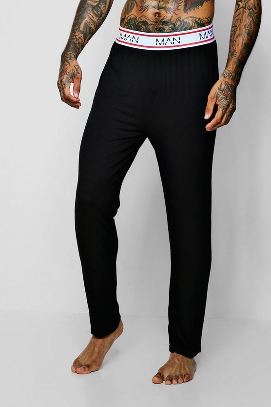 Black MAN Border Waistband Jersey Lounge Pant
