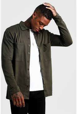 Mens Khaki Jersey Utility Button Through Overshirt