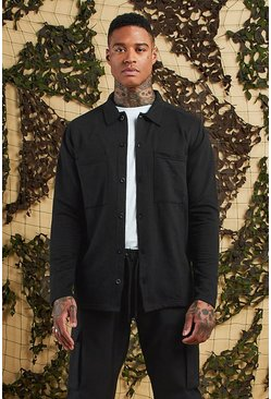 Mens Black Jersey Utility Button Through Shacket