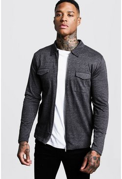 Charcoal Jersey Utility Zip Shirt Jacket