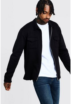Black Jersey Utility Shirt Jacket