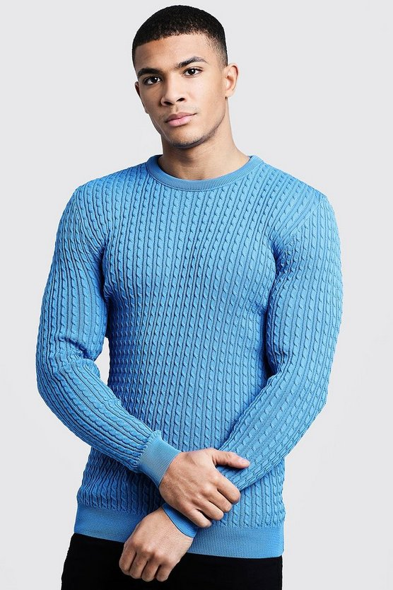 Cornflower Mini Cable Knitted Jumper