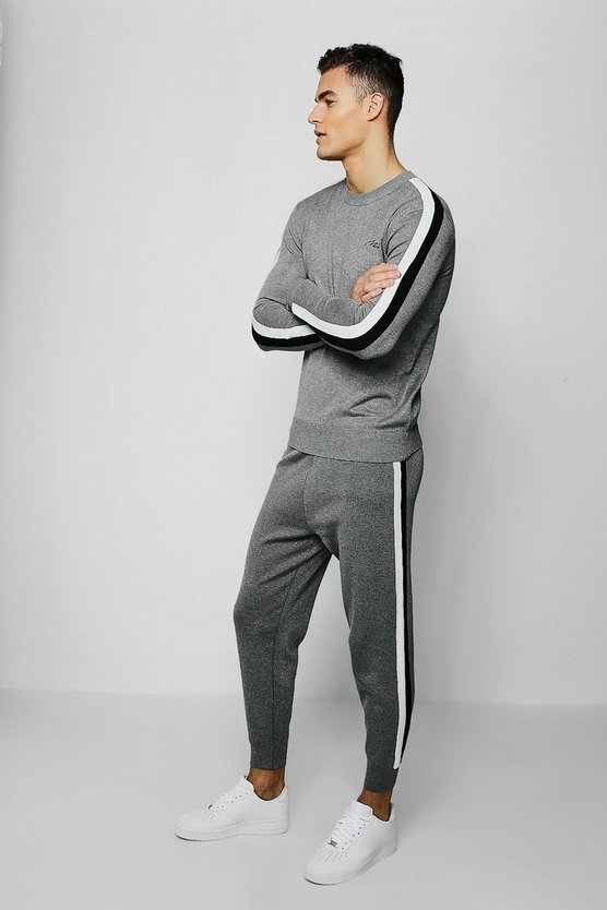 Grey MAN Signature Knitted Tracksuit