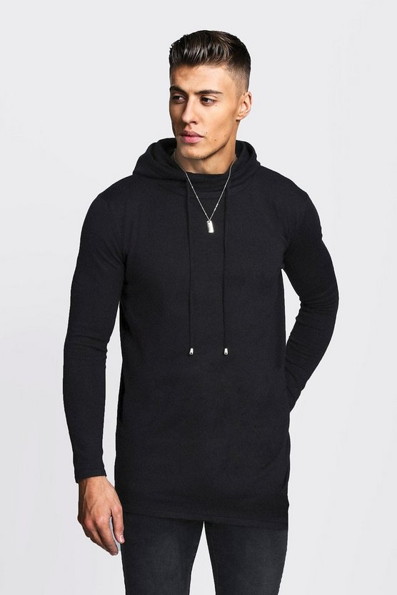 Sweat à capuche long en maille, Noir, Homme