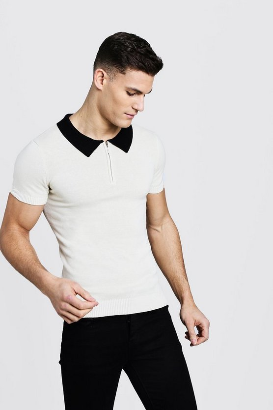 Short Sleeve Zip Polo With Ribbed Collar