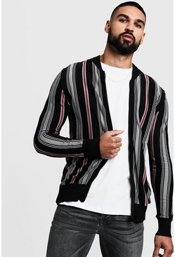 Mens Black Striped Knitted Bomber Jacket
