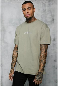 Sage silver Oversized MAN Signature Embroidered T-Shirt
