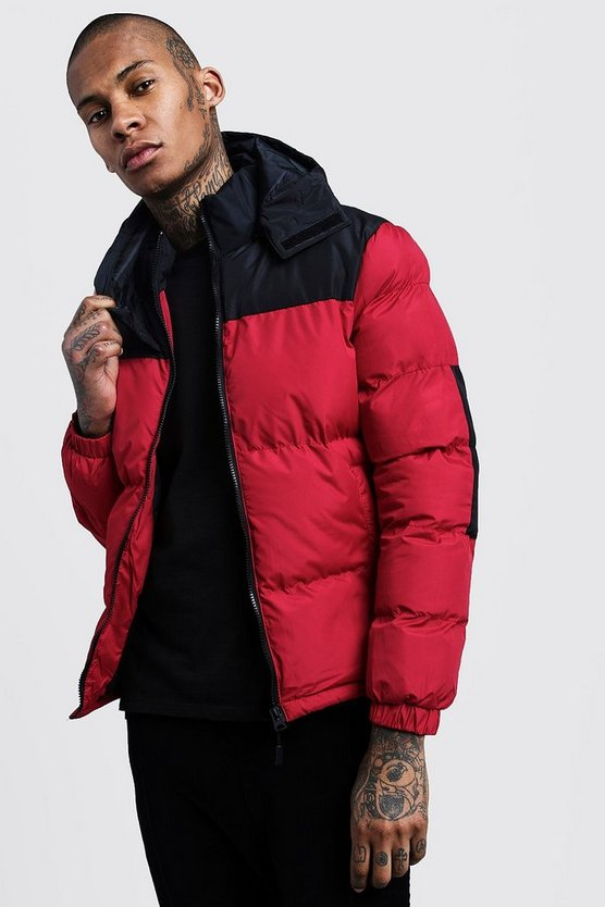 Red Colour Block Hooded Puffer Jacket