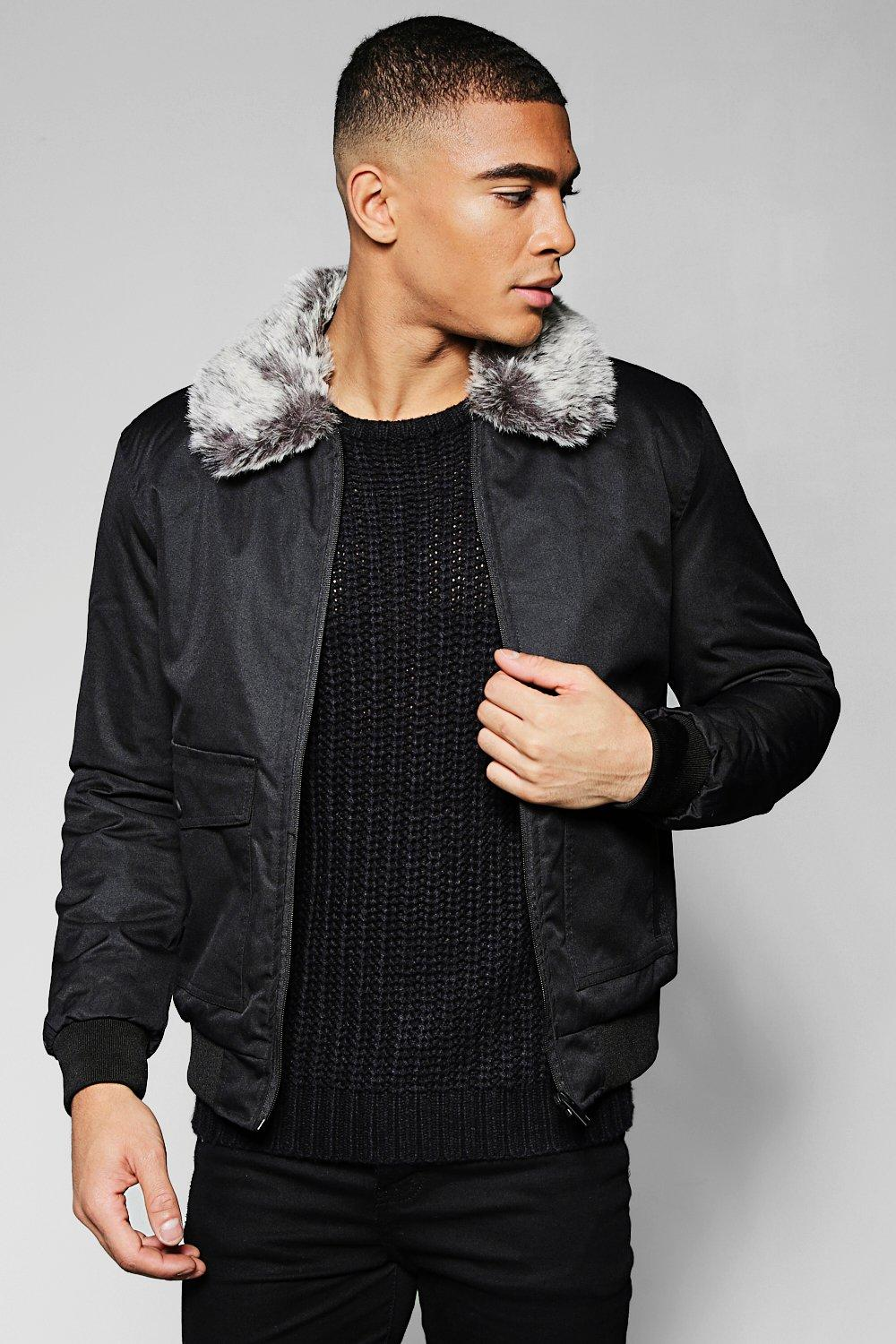 ae5547fa6 Bomber Jacket With Faux Fur Collar - boohooMAN