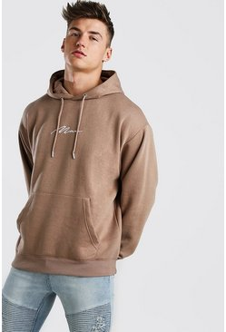Mens Taupe Oversized MAN Signature Hoodie