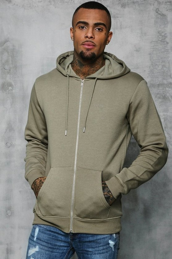 Mens Sage silver Original MAN Zip Through Hoodie