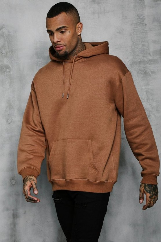 Tobacco Fleece Oversized Over The Head Hoodie