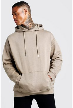 Mens Sage silver Fleece Oversized Over The Head Hoodie