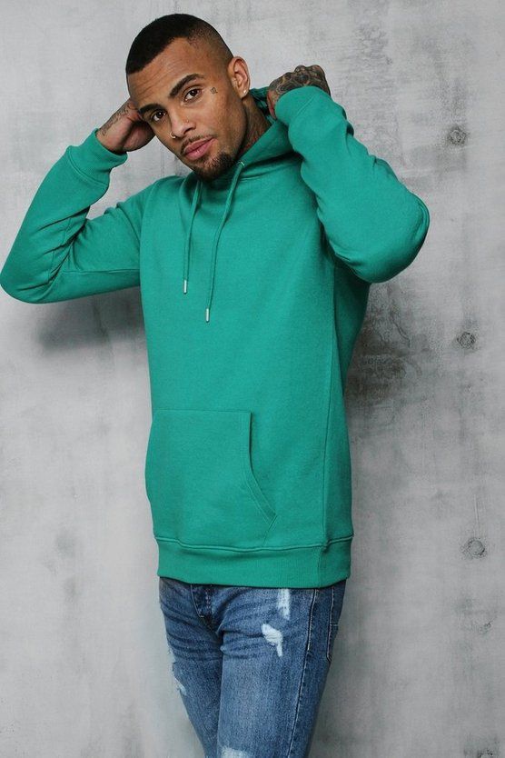 Mens Jade Basic Over The Head Fleece Hoodie