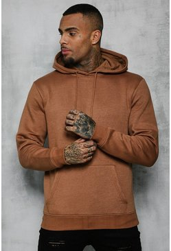 Mens Tobacco Basic Over The Head Fleece Hoodie