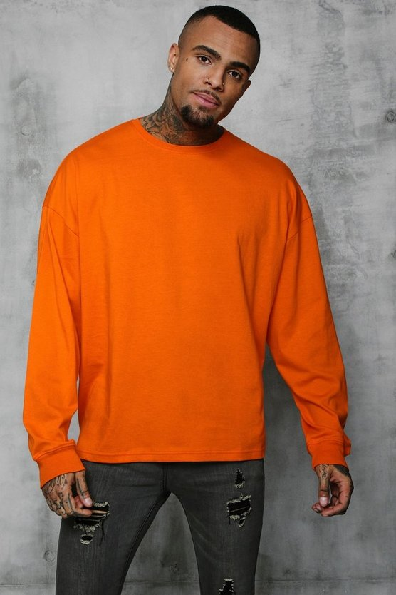 Mens Orange Oversized Long Sleeve T-Shirt