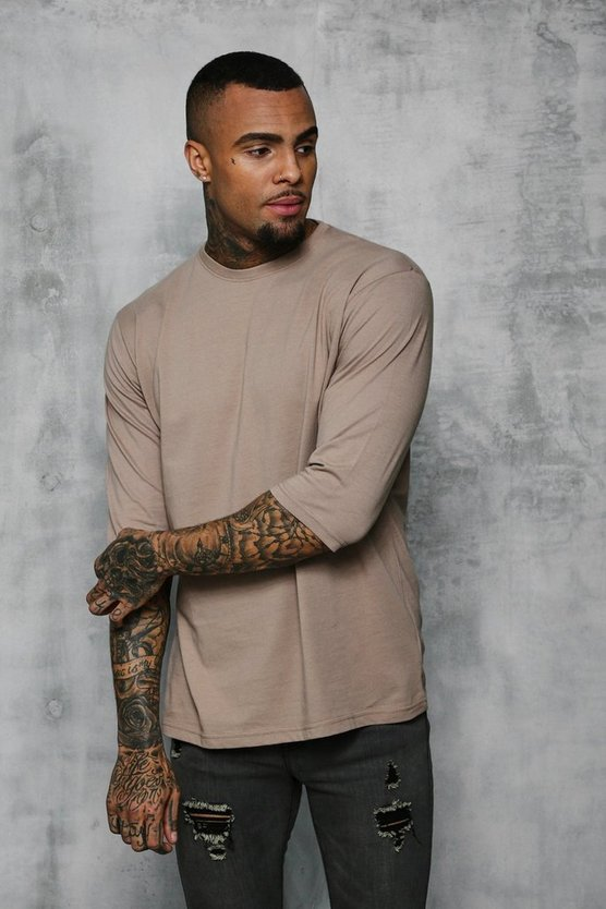 Mens Taupe Loose Fit 3/4 Sleeve T-Shirt