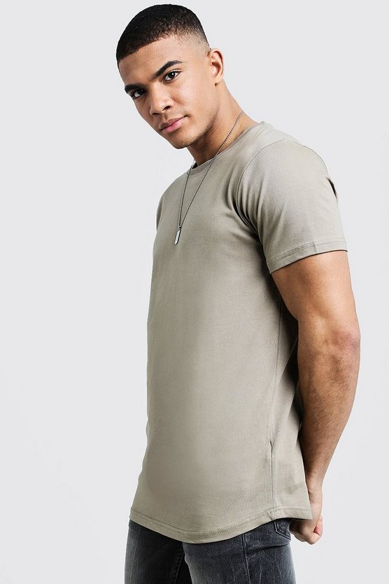 Mens Sage silver Short Sleeve Longline T Shirt With Curve Hem