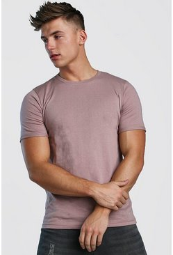 Mens Bark Crew Neck T-Shirt With Rolled Sleeves