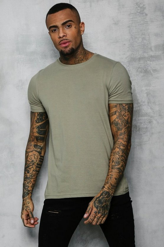 Mens Sage silver Crew Neck T-Shirt With Rolled Sleeves