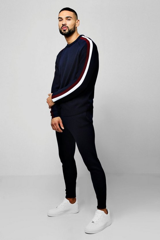 Navy Knitted Sweater Tracksuit With Side Stripes