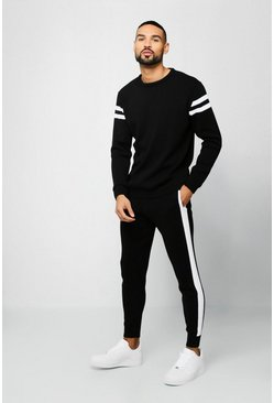Mens Black Knitted Sweater Tracksuit With Side Panels