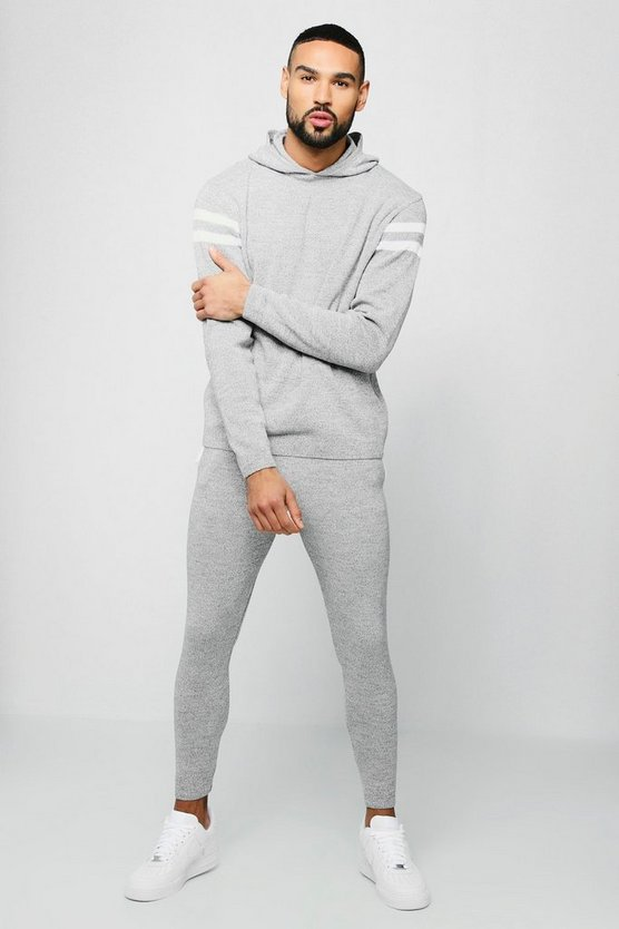 Grey Hooded Knitted Tracksuit With Side Panel