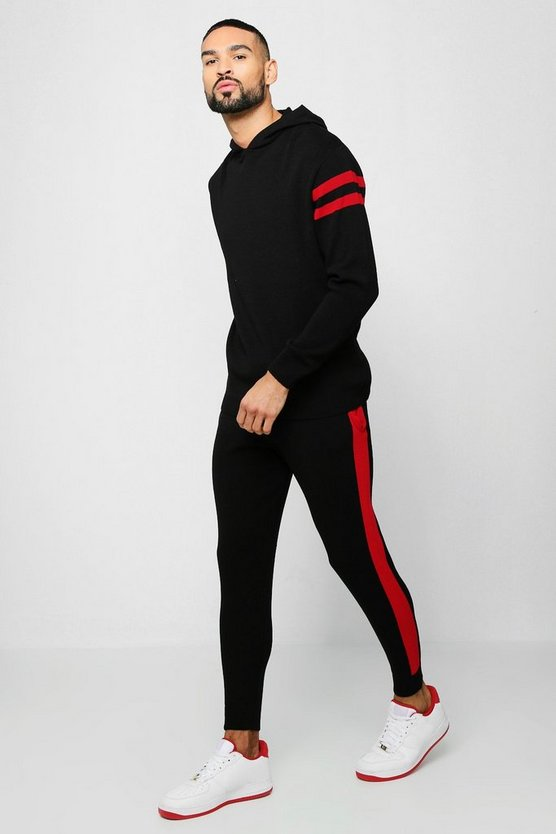 Black Hooded Knitted Tracksuit With Side Panel