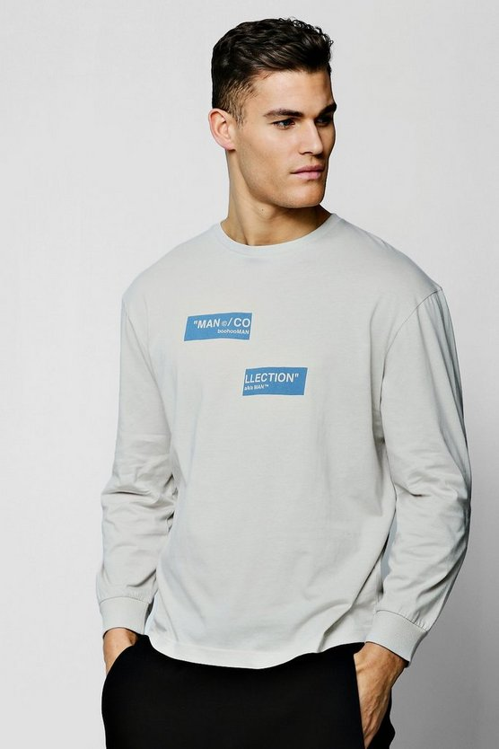 "Oversized-T-Shirt mit geteilter ""MAN Collection""-Box, Silber, Herren"